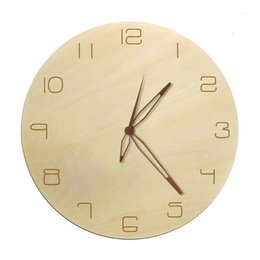 Artes arabes online-Natural Rustic Art Decorative Wall Clock Simple Arabic Números con la mano de madera Sin Ticking Diseño Minimalista Reloj de madera1