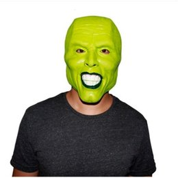 Vestiti fantasia da film online-Caldo !!! Halloween il Jim Carrey Green Costume Factory Adult Fancy Dress Face Face Halloween Masquerade Party Cosplay Movies MA