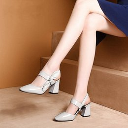 Tacco grigio chiaro online-fashion Square Toe Thick high heel Bow fish mouth female Gray light green sandals zapatos de mujer f551 Y200323