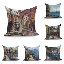 Cuscini della città online-Viste degli angoli della Città di Venezia City Paesaggio Pittura Cuscini Biancheria Couch Seat Cuscino Tiro cuscino Home Decor Regalo