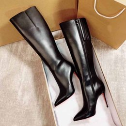 2021 chaussures de bottes de travail Designeur élégant Winter Femmes Bottines Bottines Red Bottom Chaussures Sexy Dame pointue Toe High High Talons Femmes Femmes Luxurious Fête Robe Lady Booty Eu35-43