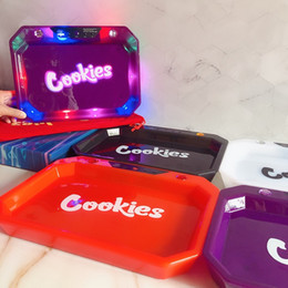 Luces led enrolladas online-Galletas Bandeja de resplandor LED Luces LED Recargable Rolling Bandeja de cigarrillos 1000mAh Batería incorporada Batería GlowTray Carga rápida con caja de embalaje de regalo