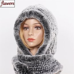 2021 hooded kaninchenpelz gest New Winter Women Real Fur Hat+Scarves Female Knitted Natural Rex Rabbit Fur Hooded Scarves Warm Knit Genuine Fur Caps Scarf 201210 günstig hooded kaninchenpelz gest