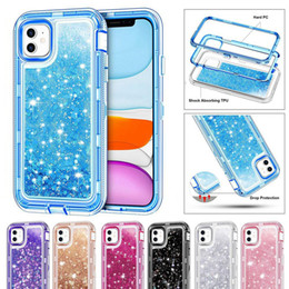 Iphone 8 mais caso brilho on-line-Caso Heavy Duty para Samsung S20 Plus Note10 Pro Prova de choque líquido Quicksand Glitter Case para iPhone 12 Pro Max XR 8 Sem Clip OPP Bag
