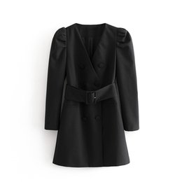 Tagliare il rivestimento del manicotto online-Puwd Casual Black Woman With Low-Cut V Blazer 2020 Vestito Ladies Fall Puff Sleeve Giacca da donna Giacca da donna Giacche eleganti