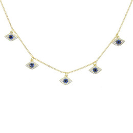 2021 белое золото ожерелье сглаза   Micro Pave White Blue Cubic Zirconia CZ Evil Eye Charm Gold Color Choker Necklace