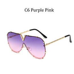 lunettes de soleil marque v Promotion 2020 New fashion Brand designer Large frame sunglasses Women V Vintage Men sun glasses Retro Gradient Square UV400 Eyewear male