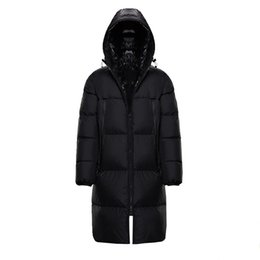 Abrigos de invierno blanco hombres online-Mens Winter Jacket Coat Windbreaker White duck down Thick Warm Hooded High Quality Casual Fashion long Down Jacket Men and Woman coat