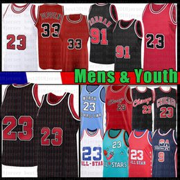 North carolina basketball-trikots online-Männer Jugendkinder 23 Scottie 33 Pippen Dennis 91 Rodman Basketball Jersey MJ North Carolina State University NCAA Jerseys Mesh