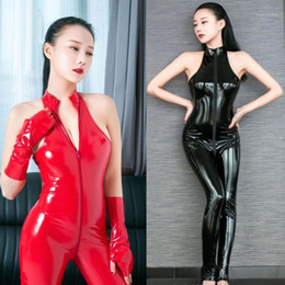 Vestito da un pezzo da bodywear online-Weylook in PVC Catsuit Zipper Aperto Body Bodysuit BodyStocking Sexy Sexy Hot Erotic Pole Dance Clubwear Babydoll One Piece Wear1