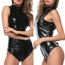 Teddy del bodysuit del pvc online-New Women Black Latex Bodysuit Gothic Faux Leather Catsuit Crotch Zipper Open Crotch PVC Teddy Jumpsuit Sexy Clubwear Costume #0