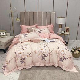 Copripiumino reversibile online-Blossom Floral Duvet Trapunta Cover Colorful Flower Reversible Brushed Cotton Ultra Soft Warm Leder Biancheria da letto Set Lettiera Letto Queen King Size