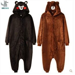 bande dessinée kumamon Promotion Hksng Kigurumi Bear Oneesies Dessin animé Flanelle Brown Animal Adulte Kumamon Halloween Pyjamas Costumes Costumes Combinaisons Jumpseau T200111