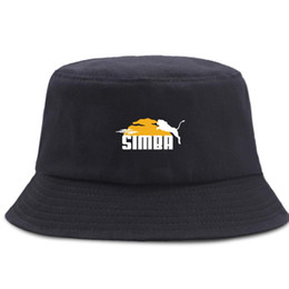 2021 pesce leone Cartoon Animal Lion Hip Hop Pescatore Cappelli da Sunscreen Beach Secchio Cappello Unisex Cotton Panama Caps Pieghevole Fashion Berretto da pesca pesce leone economici