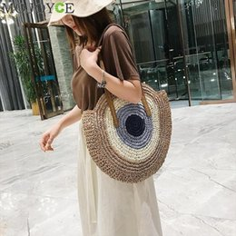 Gros sacs à main de paille en Ligne-Femme Mode Hit Color Straw Sac à main Femmes Casual Summer Beach Top Beach Handes Sacs Grand Shopping Tote Bolsa Feminina