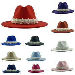 Chapeau rose panama en Ligne-23 colors Wool Jazz Fedora Hats Casual Women Leather Pearl Ribbon Felt Hat White Pink Yellow Panama Cap Party Hats HH9-3734