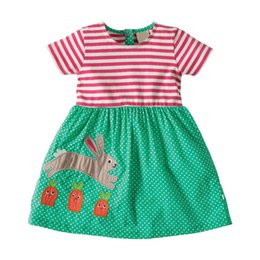 2021 petits lapins de coton Little Maven Mart New Summer Kids Belle Patchwork à rayures courtes Patchwork Green Rabbit O-Cou Kint De Coton Filles Robes de mode Y1202