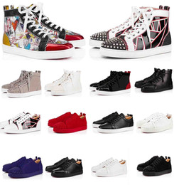 Scarpe donna scarpe rosse online-Designer di lusso Sneakers Scarpe Sunsted Spikes Fashion Red Suole Suole in pelle scamosciata Mens Sneaker Sneaker Womens Flat Bottoms Shoes Party Lovers