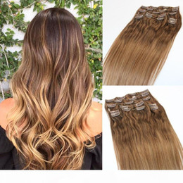 extensions de cheveux blonds Promotion Clip dans les extensions de cheveux humains Hair Cheveux Vierge Three Tonie Ombre Color Color Balayage Balayage Blonde Points forts 9pcs 120Gram