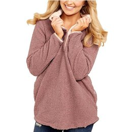 Frauen wollpullover online-Damen Hoodies Damen New Casual Style Langarm Lose Taschenwolle Pullover Top Casual Mode-Stil