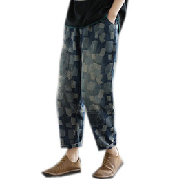 Jeans allentati per le donne online-Jeans Denim Pantaloni Denim Bottoms Plaid sbiancato Big Big Biggy Bange Joggers Oversized Retro Vintage Long A10210949