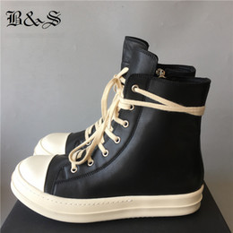 botas de hip hop preto Desconto Black Street Hip Hop Rock Couro Genuíno Botas de rua Botas Cool Lace Up Wax Shoes de Canvas 201277