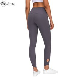Leggings crosses on-line-2021 Stitching High-cintura Estiramento Yoga Leggings Abertura do tornozelo das mulheres Sports Calças de Nine-Point
