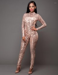 Gatinho de lantejoulas on-line-Primavera Mulheres Jumpsuit Sequin Sexy O-Neck Mesh Patchwork Bodywork Glitter Manga Longa Romper Mulheres Party Club Catsuit N2721