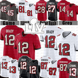 2021 antonio marrone 87 Rob Gronkowski 12 Tom Brady Antonio Brown Jersey Jersey Uomini Gioventù Mike Evans Chris Godwin Devin White Leonard Fournette Ronald Jones II