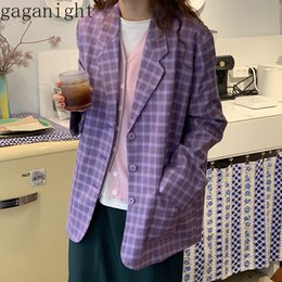 Dames blazers violettes en Ligne-Gaganight Coréen Fashion Femmes Blazer Spring Automne Casual Casual Coating Femme Purple Plaid Plaid Blazers Office Lady Vintage Outwear LJ201021