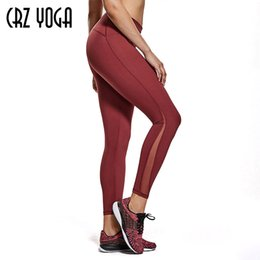 leggings ioga altos Desconto CRZ Yoga Women's High-Rise 7/8 malha apertada leggings workout com bolso zip x1227