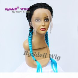 Perruques turquoise en Ligne-Beauty Twin Braids Hair Lace Front Wig Braid Black Ombre Turquoise Blue Hair Full Braids Wig for Black Woman