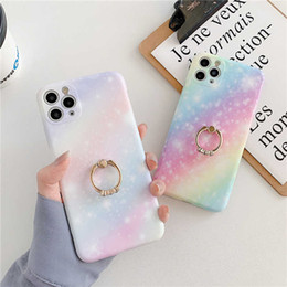 Himmel iphone online-Rainbow Gradient Sternenhimmel Telefon Fall für iPhone 11 PRO MAX 7PLUS 8 PLUS XSMAX XR XS SE 2020 Weiche IMD-Marmor-Cover Coque