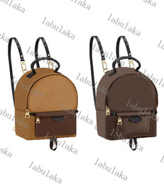Piccoli zainetti mini per le ragazze online-M42411 Cuoio della tela Pelle Presbiopia Zaino Colore Corrispondenza Mini Small School Bag School Brown Brown Borsa femminile Lady Girl Bag Top Quality with Box