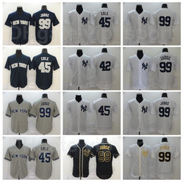 maillot de baseball bande Promotion Hommes Baseball 45 Gerrit Cole Jersey 42 Mariano Rivera 99 Aaron Juge Flexbase Cool Base Cooperstow Stripe Team Blanc Blanc Blanc Bleu Noir Gris