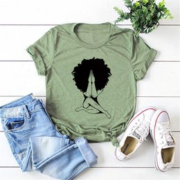 camicie in stile principessa Sconti Afro Donna Praying T-shirt Nubian Princess Queen Afro Capelli Style Shirt Black Girl Melanin Shirts Drop Shipping