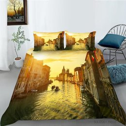Cuscini della città online-City By the River Building Stampa Piumino Cover Piumino Custodia con copertura trapunta Set Bedclothes Single Biancheria da letto Set 2 / 3PCS