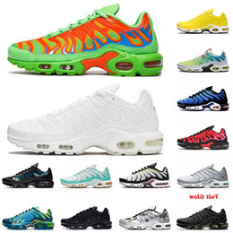 12 breite herren-schuhe Rabatt Top Tn Plus Size US 12 Mens Womens Sport Laufschuhe Triple White Gemus Green Worm Wide Air