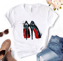 donne scarpe casual stampati Sconti High inferno scarpe stampa donne Tshirt in cotone casual buffo t shirt regalo per lady yong girl top tee pm-76