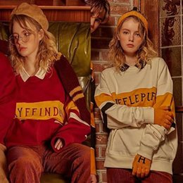 Ricami harry potter online-HARRY POTTER CO Branch Branded College Stripe Series Lettera Stitched Embroidery Sloat Couple's SweaterXhuksy