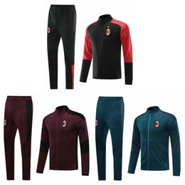 Vestuário desportivo on-line-Top 2020 AC Milan Futebol Jaqueta Ibrahimovic Tracksuit 20 21 Higuain Chandal 2021 Paqueta Soccer Jersey Training Ternos Sports Wear