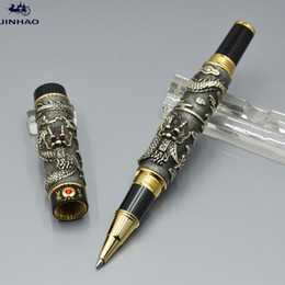 Jinhao gold stifte online-Hohe Qualität Jinhao Pen Black and Golden Drachenform Reliefs Roller Kugelschreiber Schreibwaren Büro Schulbedarf Schreiben Glatte Geschenkstifte