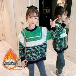 Camisolas verdes on-line-2020 Outono e Inverno Roupas Infantil New Corean Girls 'Plush Green Sweater