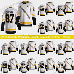 2021 maillots de pingouin pittsburgh 66 Pittsburgh Penguins 2021 Jersey Retro Retro 87 Sidney Crosby 66 Mario Lemieux 71 Evgeni Malkin 58 Letang 59 Jake Guentzel Hockey Jerseys
