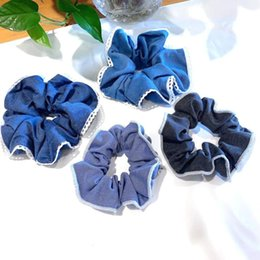Accessori per capelli di denim online-New Women Denim Hair Bands Scrunchies Girl's Carino Accessori Ponytail Holder