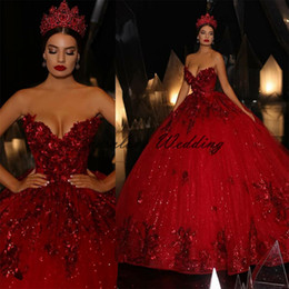 gonfio di paillettes abiti da ballo di fine anno Sconti Red Pailmined Princess Quinceanera Dress Ball Gown Sweetheart Pur Puffy Prom Dress Party Masquerade Dolce 16 Dress