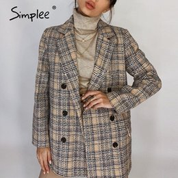 Damas chaqueta larga de tweed online-Simple elegante Herfst Winter Plaid Jacket Originalmente Mouwen Tweed Jas Short Office Ladies Pocket Women Pack Blazer