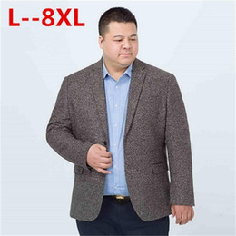 Gestrickter wollmantel online-10XL 8XL 6XL 5XL Casual Men Knit suit Blazer business loose Costume Homme Blazer Masculino Male Woolen Suits vintage Jacket coat
