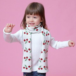 2021 bufanda de cerezas Sweet Baby Scarf Cherry Cotton Girl Warm Scarves Knitted Scarf Toddler Cute Neckerchief Princess Winter Scarves Baby Accessories rebajas bufanda de cerezas