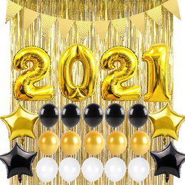 bannersätze Rabatt 2021 Black Gold Folienballon Sets Banner Party Dekor Weihnachtsbedarf